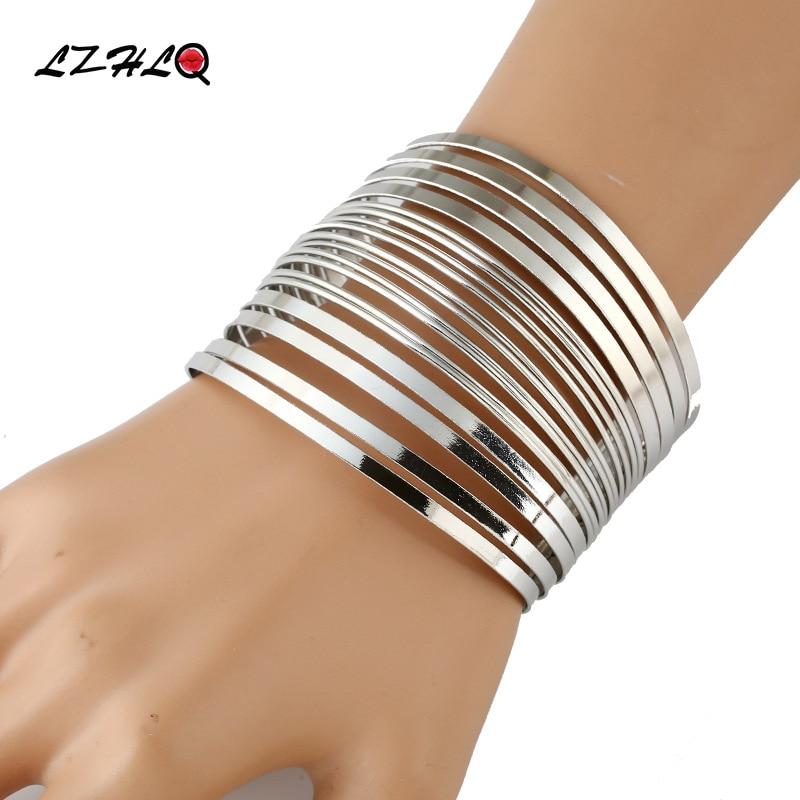 LZHLQ Maxi Cuff Bangle For Women Geometric Wide Line Metal Plated Punk Bangle Bracelet 2019 Fashion Brand Jewelry Accessories