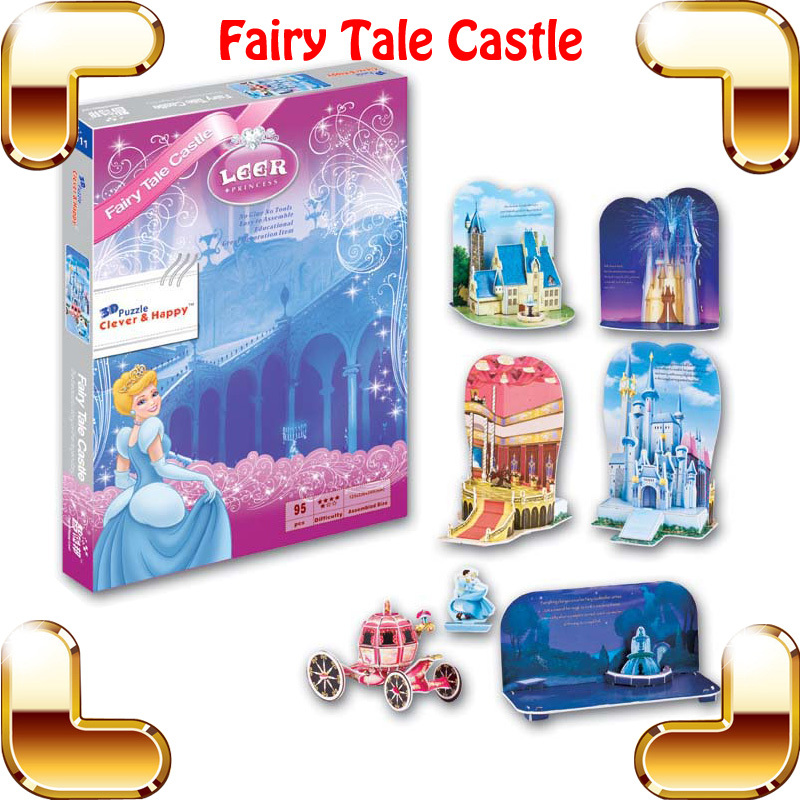 New DIY Gift Fairy Tale Castle 3D Puzzle Mini Cartoon Building Model Stage Set Easy Assemble Toys Story Scene DIY Built For Fun