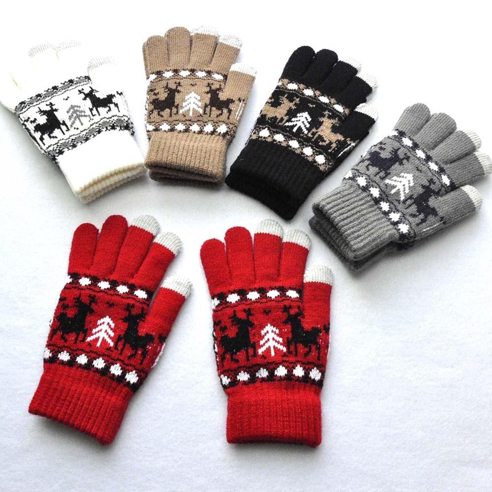 Bekleidung Zubehör Männer Frauen Weihnachten Winter Warme Gestrickte Wapiti Pint Niedlichen Handschuhe 10,8