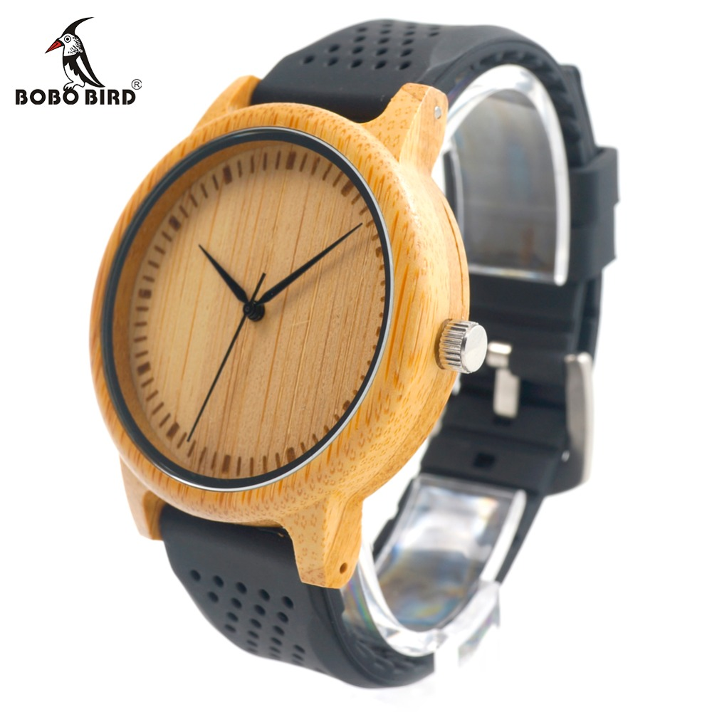 BOBO BIRD New Fashion Bamboo Wood WatcheSoft Silicone Strap Japan Movement 2035 Quartz Watch for Women