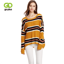 GOPLUS New Fashion Thin Striped Knitted Women Pullovers Batwing Sleeve Befree Loose Sweater Ladies 2019 Casual Blouse Female Top