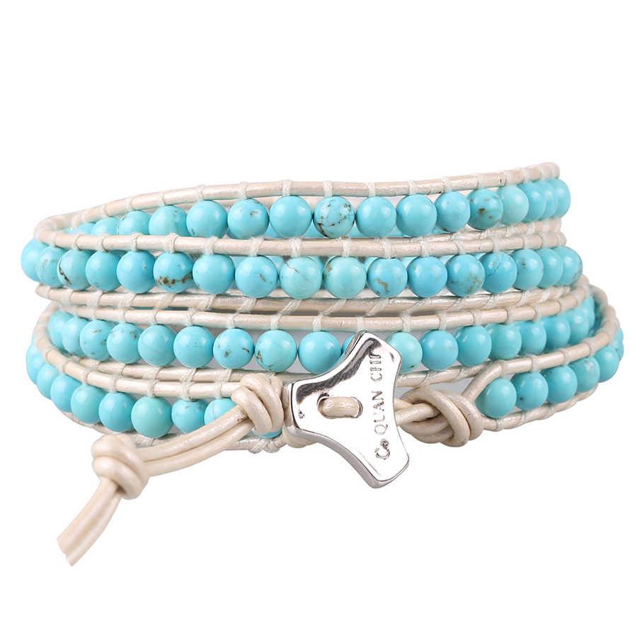 Vintage Leather Wrap Bracelet Boho Handmade Natural Blue Turqoise Beads Strand Bracelets Fashion Jewelry Gift for Women Girls