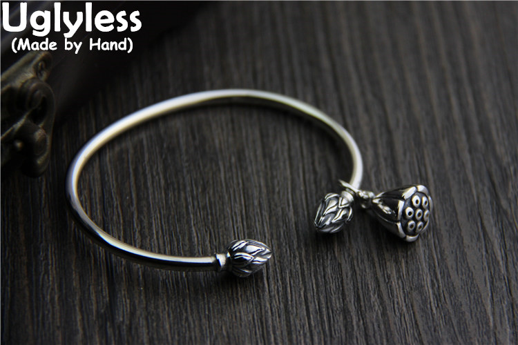 Uglyless 100% Real S 925 Vulcanized Thai Silver Jewelry Women Lovely Lotus Charm Opening Bangles Handmade Carved Flowers BangleUglyless 100% Real S 925 Vulcanized Thai Silver Jewelry Women Lovely Lotus Charm Opening Bangles Handmade Carved Flowers Bangle