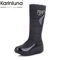 KARINLUNA Large Size 35 44 Women Snow Boots Rhinestone Warm Plush Wedges Rubber Sole Platform Shoes