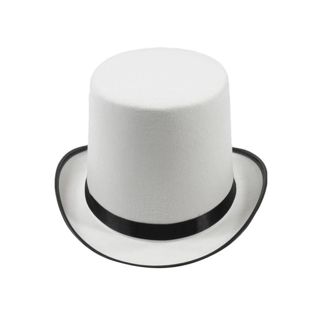 425ea3df31bf7 Sombrero mágico barril recta plana empalme Top Fedora sombrero deportes sombrero  blanco borde negro para adultos