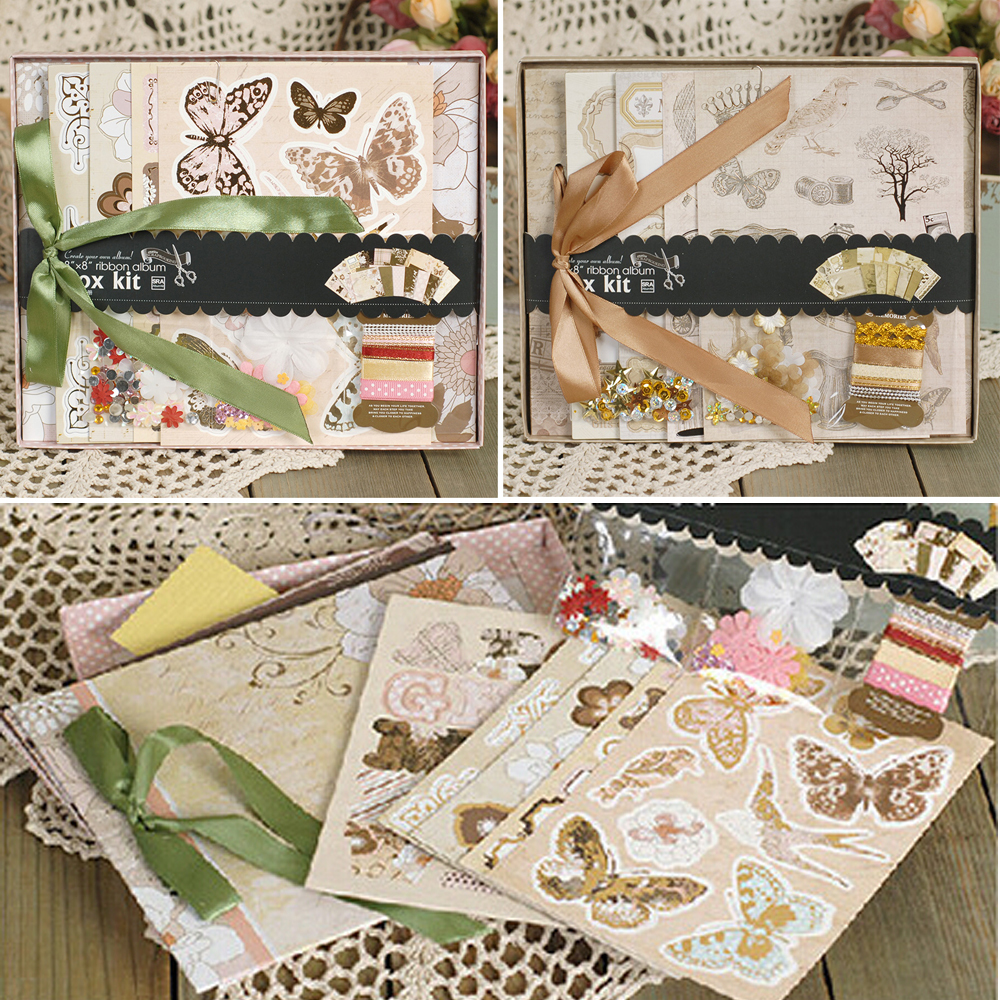 Create your own scrapbook - 8 Paper Gift Diy Photo Album Kit With Ribbon Bow Create Your Own Scrapbook