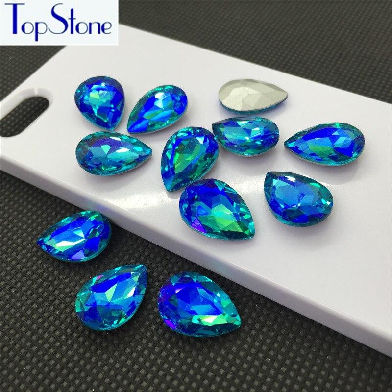 Aquamarine AB Color Glass Crystal TEARDROP Pointed Back Rhinestone 6x10,8x13,10x14,13x18,18x25,20x30,30x40mm Drop Crystals