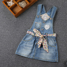 SHUZHI Girls Dresses Kids Denim Straps Dresses For Girls Floral Baby Girl Lace Mini Sundress Children All-match Dress