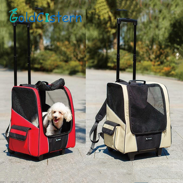 pet dog puppy drawbar case carrier breathable backpack for dog cat outside travel portable
