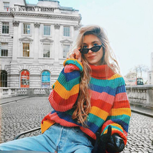 Rainbow Turtleneck Sweaters Women Winter 2019 Autumn Knit Striped And Pullovers Korean Style