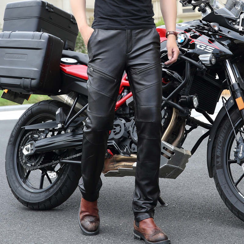 New Fashion Add Wool Warm Leather Pants Men Genuine Leather Straight Pants Mens Plus Siz ...