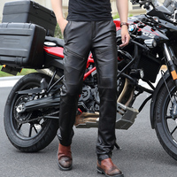 New Fashion Add Wool Warm Leather Pants Men Genuine Leather Straight Pants Men S Plus Size