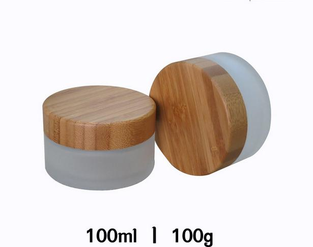 free shipping 100g 10pcs / lot Cosmetics bottle jar / glass Wood cover Frosted glass makeup packing box 1000mg 100 pcs fish oil bottle for health capsules omega 3 dha epa with free shipping
