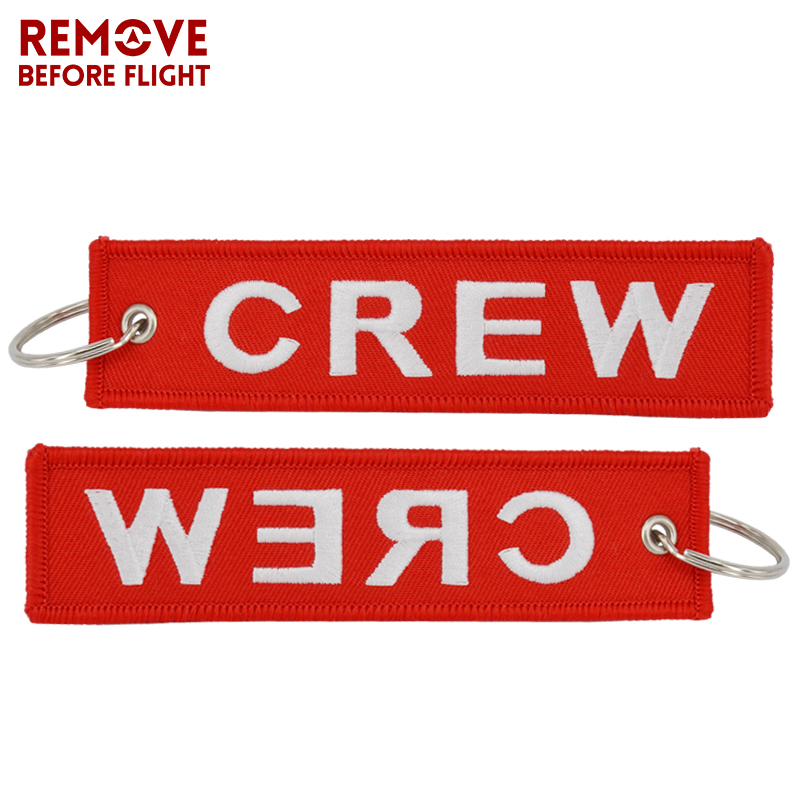 5 PCS/LOT Crew Keychain Motorcycle For Keychains Llaveros Luggage Tag Embroidery Crew Key Ring Holder Keychain For Aviation Gift