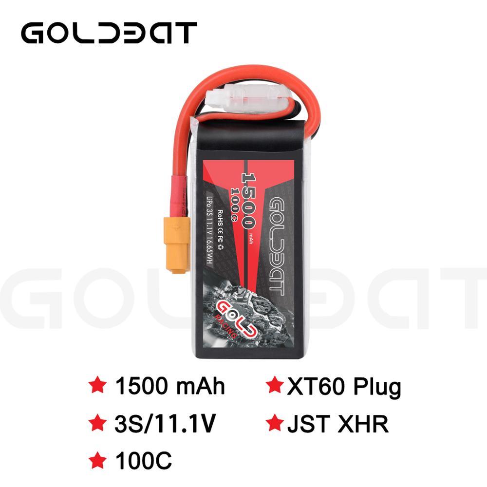 GOLDBAT 100C 3 S 11.1 V bateria Lipo 1500 mAh Bateria 3 S 1500 mah Bateria Lipo 11.1vs Softcase com XT60 Plug para fpv avião heli