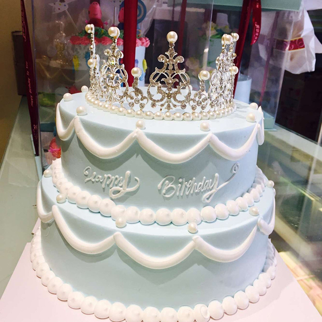 New Arrival Crystal Diamonds Pearl Crown Cake Toppers Wedding Baby