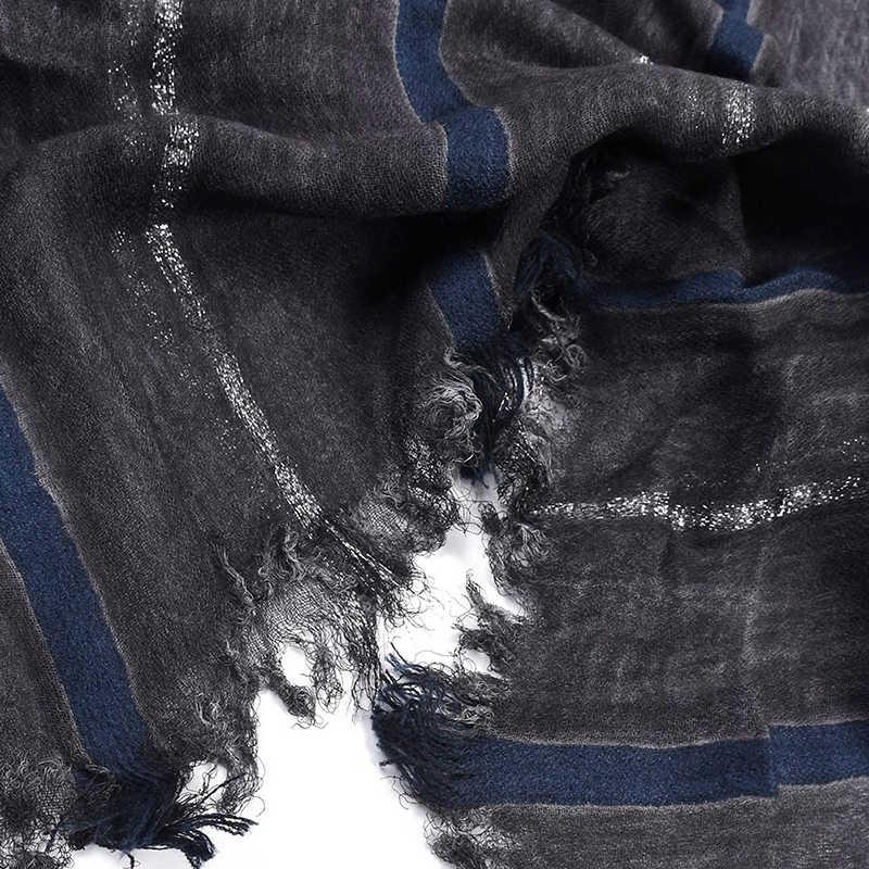 190 センチメートル * 95 センチメートル男性のスカーフコットンリネンストライプソリスキニーソフト暖かいショール春秋冬スキニー織しわ