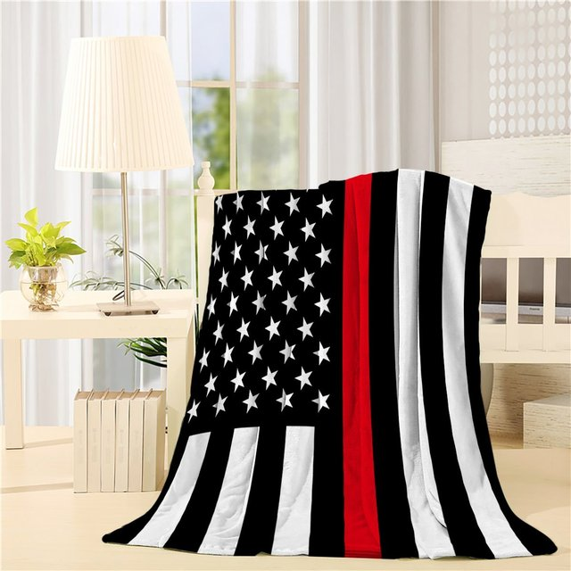 acf9a90edfd5 Black White and Red American Flag Honoring Firefighters Throw Blanket Soft  Flannel Fleece Lightweight Cozy Plush