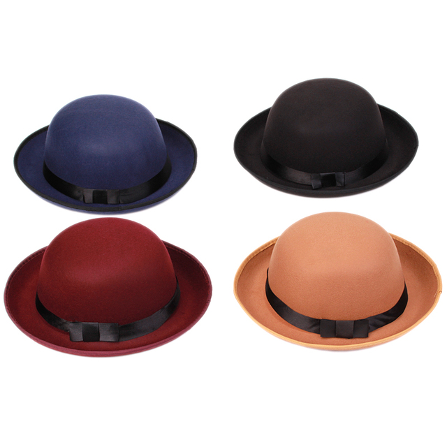 83d7f4e470a Vogue Women Girl Vintage Wool Felt Hats Bowler Derby Fedora Trilby Hat  Bowknot Cap Jazz Hats