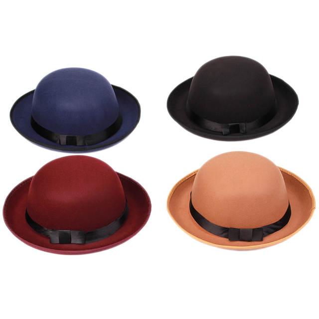 79be0278f20 Online Shop Vogue Women Girl Vintage Wool Felt Hats Bowler Derby Fedora  Trilby Hat Bowknot Cap Jazz Hats HO873802