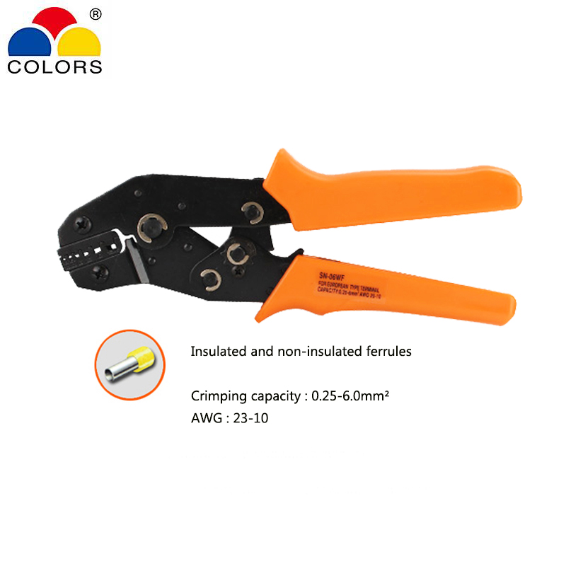 Crimping pliers for insulated and non-insulated ferrules 0.25-6.0mm2 AWG 23-10 ratchet Line pressing pliers hand tools SN-06WF
