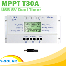 NEW MPPT T30 Solar Charger Controller 30A 12V 24V Auto LCD Display CE Certificated Light and Dual Timer Control Voltage Settable