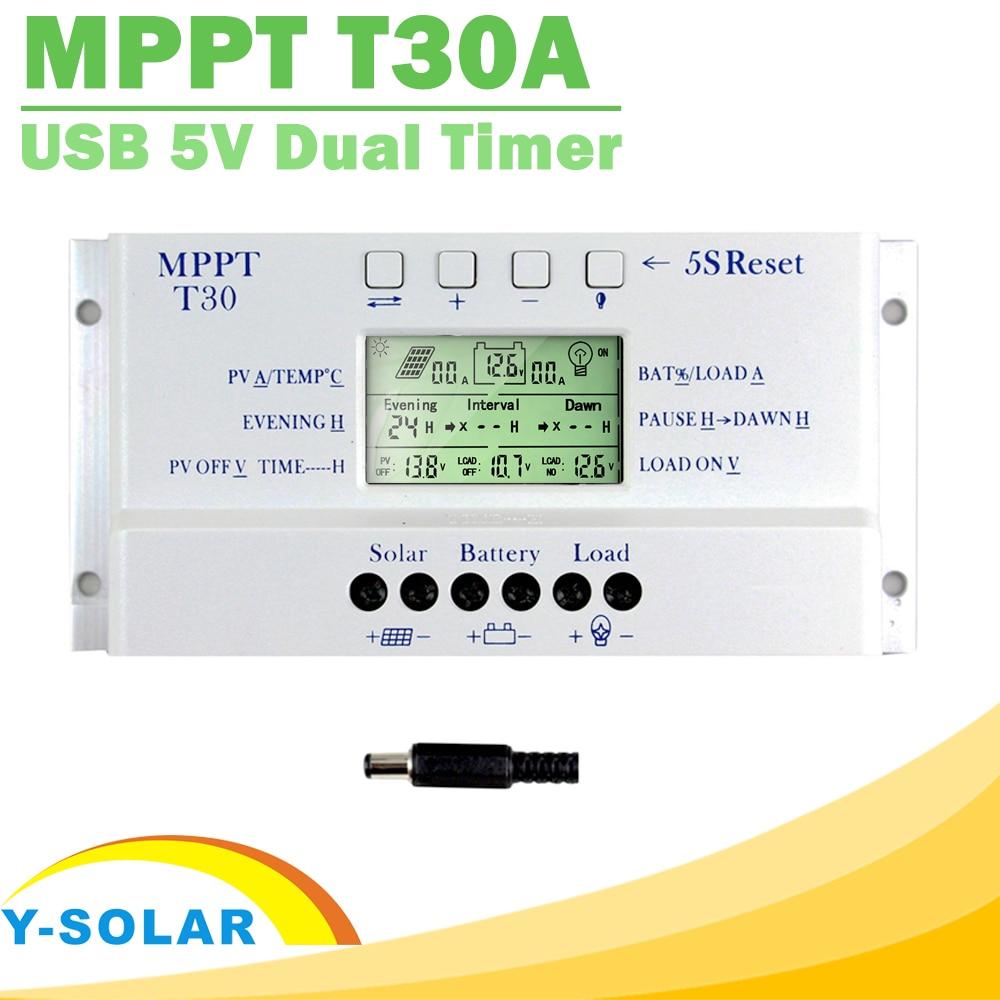 Nova mppt t30 carregador solar controlador 30a 12 v 24 v display lcd automático ce habilitado luz e temporizador duplo tensão de controle ajustável