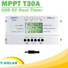 Nowy kontroler ładowarki słonecznej MPPT T30 30A 12V 24V wyświetlacz samochodowy wyświetlacz lcd certyfikat CE światło i podwójny regulator czasowy napięcie ustawiane