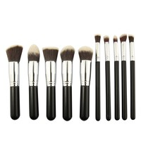 Ship From UK 10pcs Hand To Make Up Brush Set Foundation Makeup Brushes Kit Professional Nylon