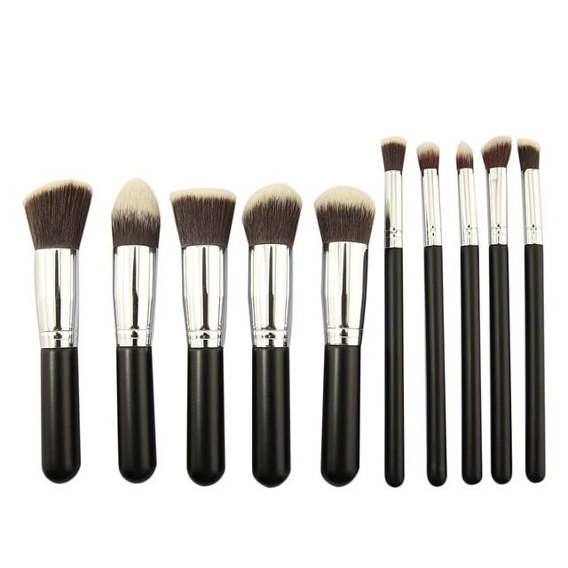 10 pcs make up brush Set Fundação pincéis de Maquiagem Kit Professional Nylon Cabelo cosméticos Rosto mão para beleza Kabuki Pó escova