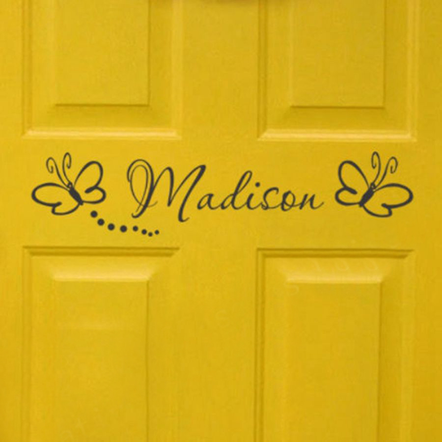 Free shipping childs room sign - Girls Bedroom Door Monogram with butterflies Personalized name vinyl wall decal sticker
