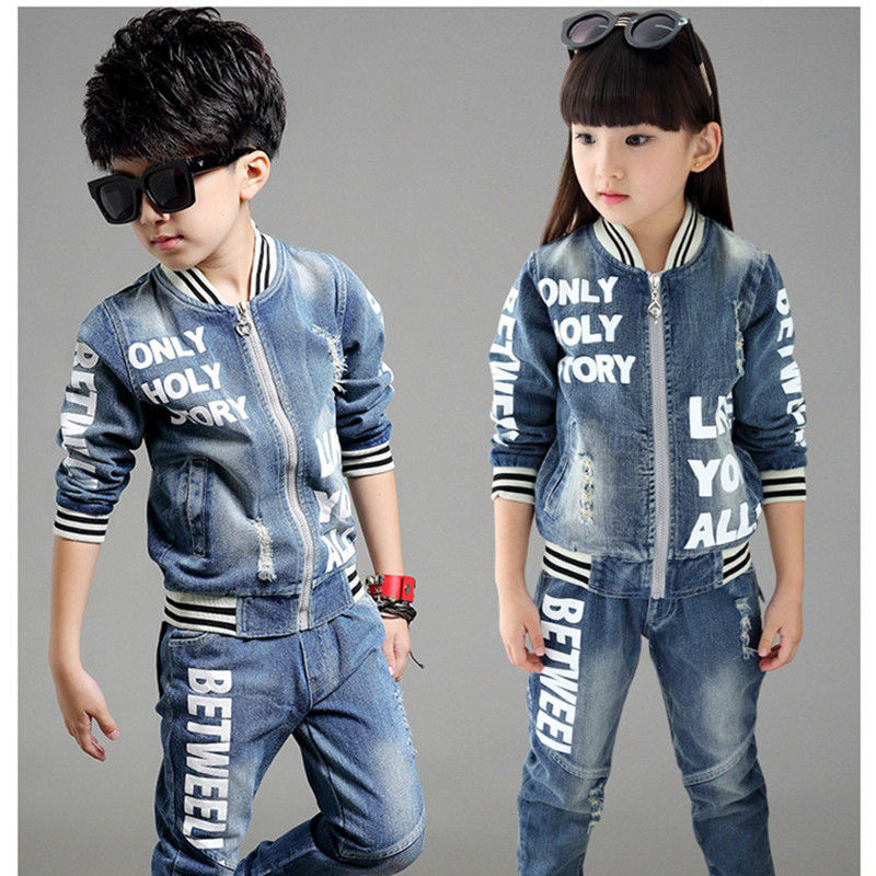 ФОТО 2016 fashion baby boys girls clothing set spring/autumn children jeans sports suit set kids cowboy coats +jeans 2 pcs clothes