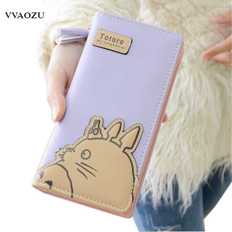 Fashion My Neighbor Totoro Women Wallets Cartoon Card Holder Coin Purse Zipper & Hasp Clutch Long Wallet Dollar Price kawaii cartoon anime totoro purse folded leather short wallets carteira gift kids teenager dollar price card holder wallet