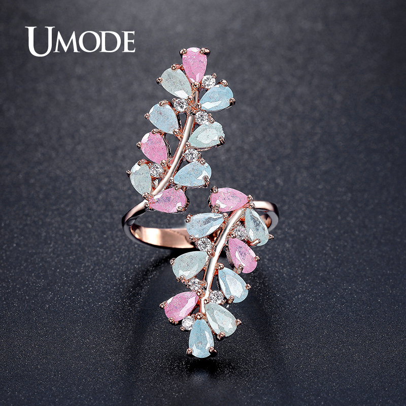 UMODE Candy Colorful  Rose Gold Plated Ring For Women 2016 New Arrival Fashion Jewelry CZ  Anillos Mujer Anel AUR0361C