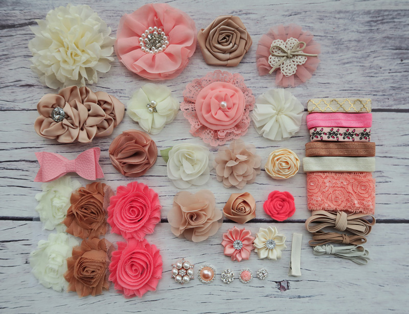 DIY Headband Making Kit, Shower Headband Station Kit,First Birthday Party Headband Kit,Hair Bow Kit ,Coral,ivory ,tan, S38 цена и фото