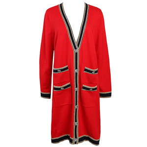 Image 3 - Mulheres De Longo Cardigan 2019 Runway Designer V neck Único Breasted Bolsos Vermelho Cardigan Oversized Sweater Casaco de Malha Outwear