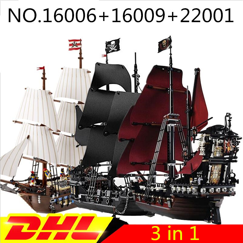 LEPIN 22001 Imperial Warships + 16006 Black Pearl Ship + 16009 Queen Anne's revenge Pirate Ship Toys Clone 10210 4184 4195 lepin 22001 pirates series the imperial flagship model building blocks set pirate ship lepins toys for children clone 10210