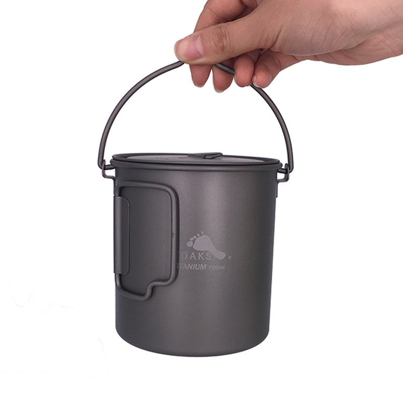 TOAKS Titanium Outdoor Camping Pot Cooking Pots Picnic Hang Pot Ultralight Titanium Pot 750ml POT-750-BH4