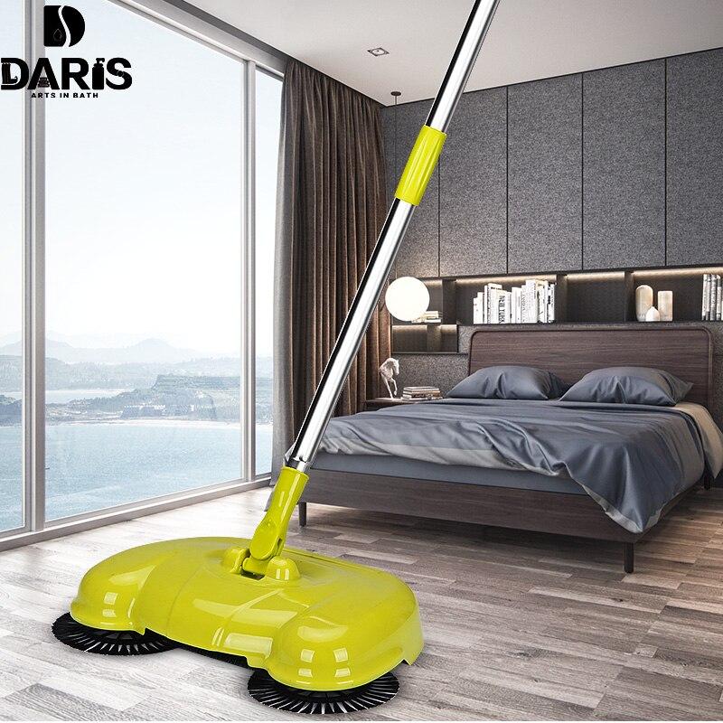 DARIS Edelstahl Kehrmaschine Griff Push-Typ Reinigung Magie Kehrmaschine Haushalt Hand Push Boden Besen Kehrschaufel Roboter