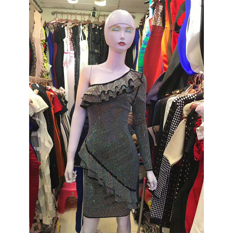 2018 Newest Fashion Sequin Celebrity Evening Party Dress Sexy One Shoulder  Long Sleeve Slim Night Club Women Vestidos Wholesale-in Dresses from  Women s ... 4e21830ba053