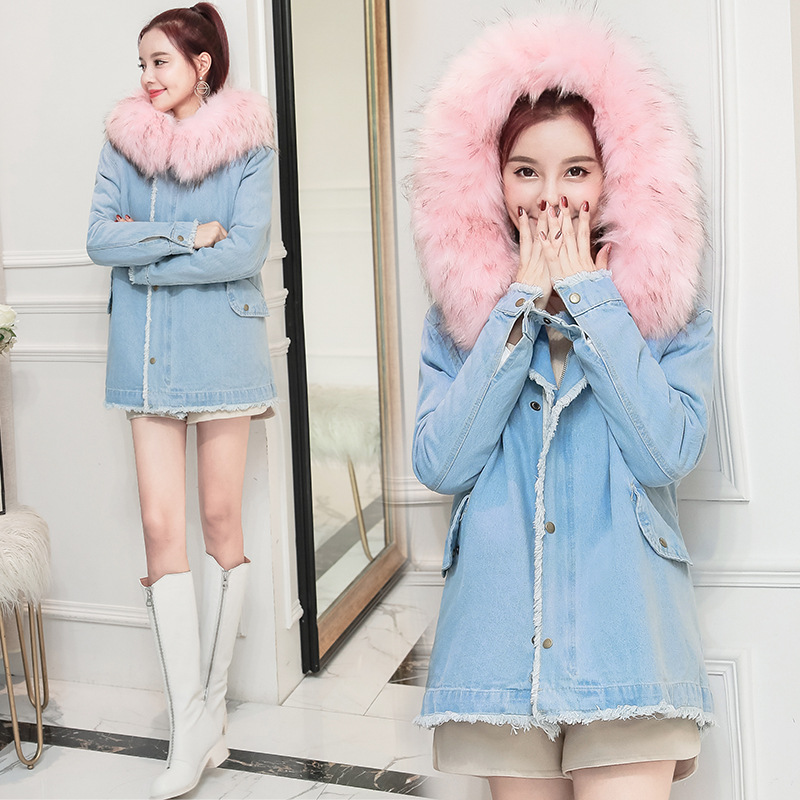 Women Winter Denim Warm   Parkas   Large Fur Loose Thick Coat Solid Color Wadded Cotton Wild Femme Hooded Outerwear Jacket MZ3263