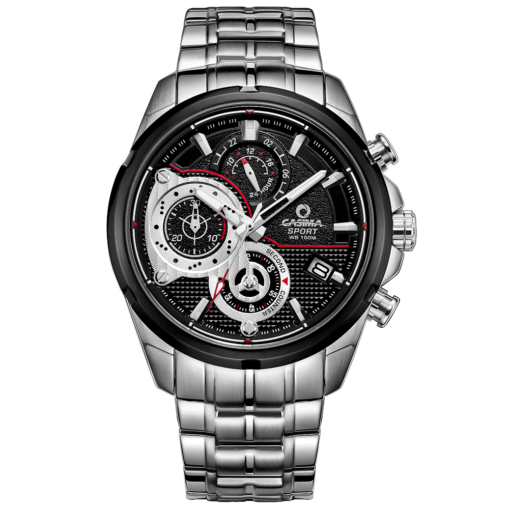 Prix pour Marque de luxe Sport Hommes montre à quartz chronomètre charme décontracté relogio masculino Lumineux étanche 100 m CASIMA #8303