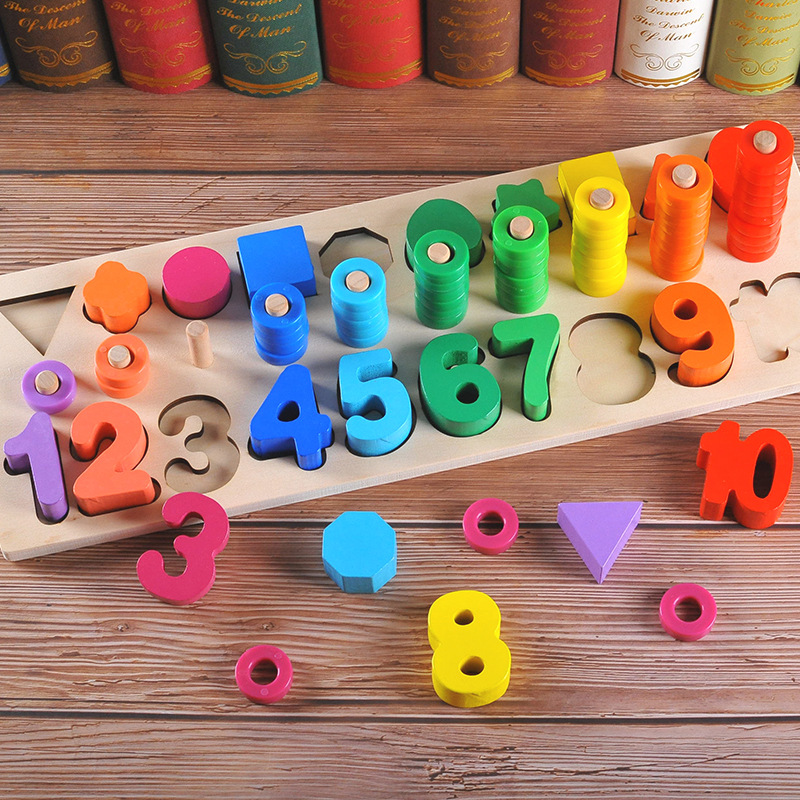 Montessori Math Toys Digital Shape Pairing Learning Counting Numbers Board Kids Early Educational Wooden Toys For Children Gift