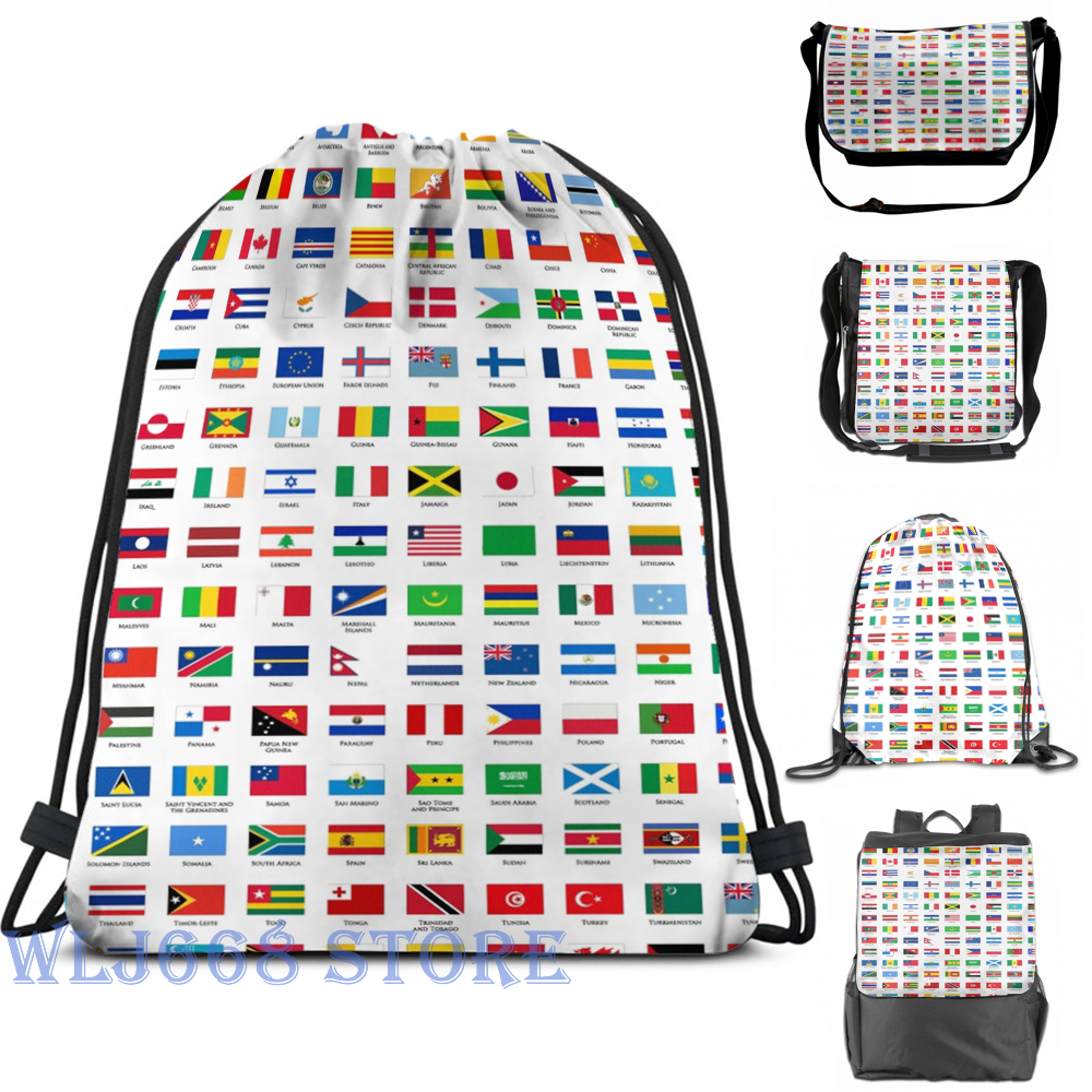 Shoulder-Bags World-Flags Travel Graphic Print Women for Gym-Bag Funny