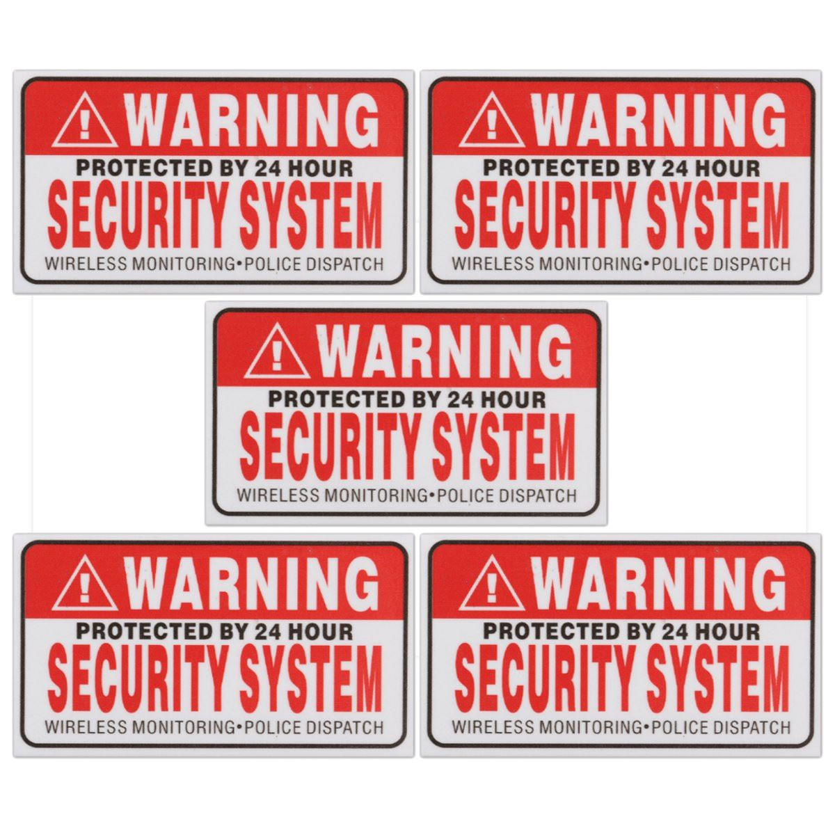 5Pcs/Set Warning Protected by 24 Hour Security System Stickers Saftey Alarm Signs Decal Warning Mark Business 9*5cm Car Styling signs