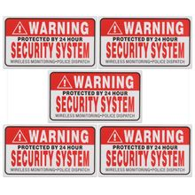 5Pcs Set Warning Protected by 24 Hour Security System Stickers Saftey Alarm Signs Decal Warning Mark