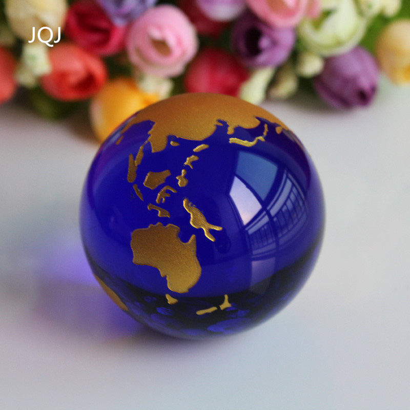 JQJ Crystal Glass Marbles earth globe world map Feng shui