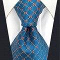 B5 Azul Bisque Geométrica Vestido de Seda Gravata Dos Homens Gravata Moda Laços do Clássico para o sexo masculino Lenço extra longo tamanho