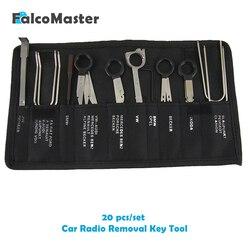 20 peças/kits profissional automotivo interior áudio estéreo carro cd player remoção de rádio chaves ferramenta conjunto