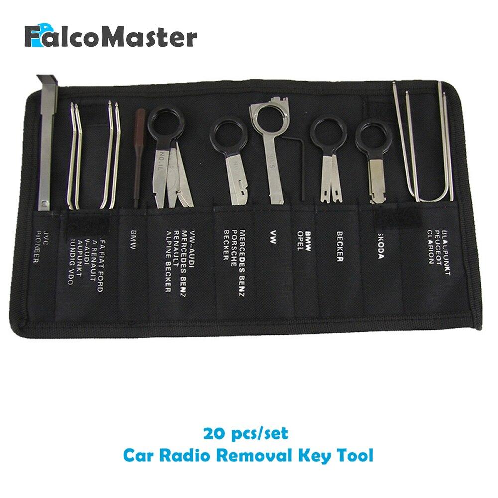 20 piezas/kits profesional automotriz Interior Audio estéreo coche reproductor de CD Radio eliminación teclas conjunto de herramientas